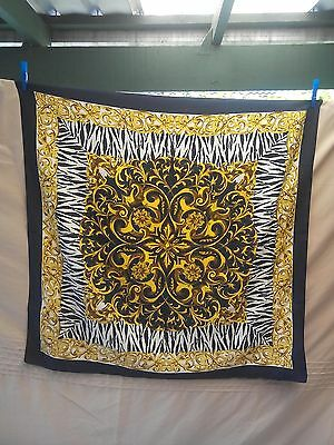 Ladies Vintage Scarf in a Dark Navy Blue White and Gold Abstract Scroll Pattern