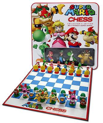 NEW Super Mario Chess Collectors Edition Board Game Tin Factory Sealed