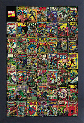 MARVEL COVERS 13x19 FRAMED GELCOAT POSTER COMICS VINTAGE THOR HULK IRON MAN HERO