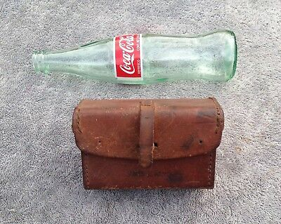 Antique Leather Bike Bicycle Tool Bag Pouch AutoCycle Early Motorcycle w/ Straps