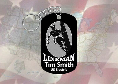 Lineman Power Company Dog Tag Keychain - Super Hard Anodized - Personalized