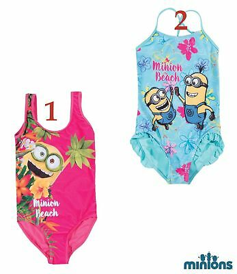 Girls Children Minions Despicable Me Swimsuit Swimming Costume Age 5-12 years