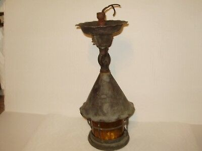 Large Antique Copper Tudor Ceiling Light With Amber Glass