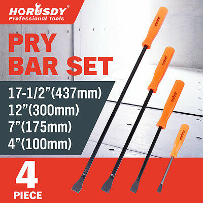 "Horusdy 4Pcs Pry Bar Set Heavy Duty Mechanic Crowbar Car Tool 4"" 7"" 12"" 17-1/2"""