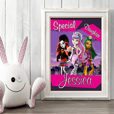 MONSTER HIGH Personalised Poster A5 Print Wall Art Custom Name ✔ Fast Delivery ✔