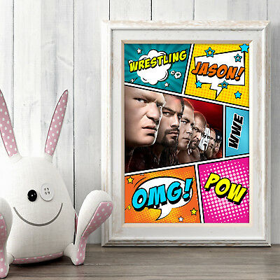 WWE STARS Personalised Poster A5 Print Wall Art Custom Name ✔ Fast Delivery ✔