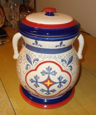 Nonni's Handmade Biscotti 2 Handle Ceramic Cookie Biscuit Jar Canister Red Blue