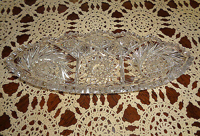 """VTG Large Lead Crystal Cut Saw Tooth Candy / Butter / Serving Dish 11 1/2"""" Long"""