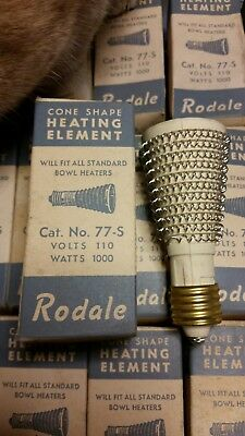 NOS, Rodale, vintage, cone shape heating element, 77-S, 1000 watts, 110v