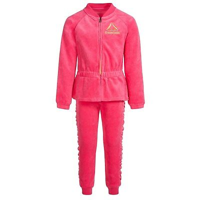 Reebok Tracksuit: Warm Velour Joggers &  Jacket, Girls Select Sz and Color