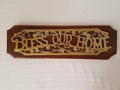 """Vintage Home Interiors """"Bless Our Home"""" Faux Brass Wooden Wall Sign Plaque 17"""""""