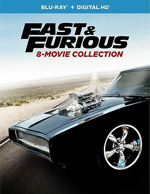 Fast and Furious: 8-Movie Collection Blu-ray + Digital HD 9-Disc Set 2017 New