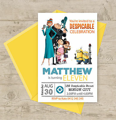 Despicable Me Personalised Birthday Party Invitation Minion Custom Invite