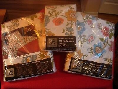 Vintage Bibb Company 2 FULL Size Flat Sheets & 2 King Size Pillow Cases FLORAL