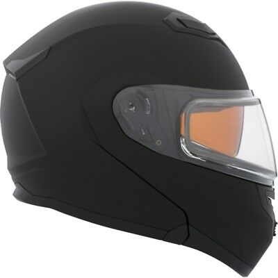 Ckx Solid Modular Flex Rsv Matte Black Snowmobile Winter Helmet Electric Shield