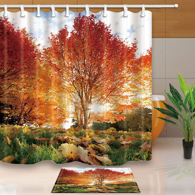 Autumn Wild Maple Forest Bathroom Shower Curtain Set Fabric & 12 Hooks 71 Inches