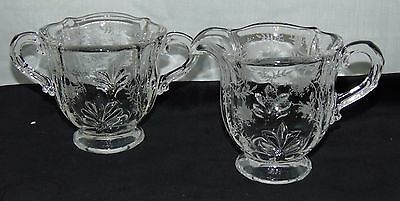 "Fostoria CHINTZ CRYSTAL *3 3/4"" FOOTED CREAMER & SUGAR* #2496*"