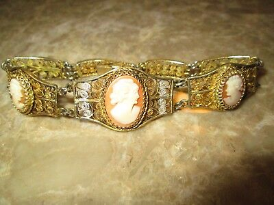 Antique Victorian Edwardian 800 Solid Silver Gold Plated Cameo Bracelet Filigree