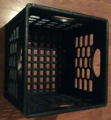 1 Milk Crate Heavy Duty Plastic Storage Container Stackable Black Heavy Duty Box