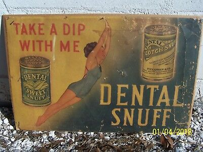 1920-30s Dental Scotch Sweet Snuff Sign Tobacco Tobacciana Advertising Litho