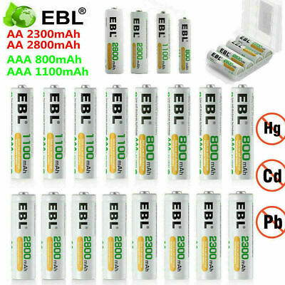 EBL Lot AAA AA Ni-MH Rechargeable Batteries for Camera Flashlights Clocks Toys