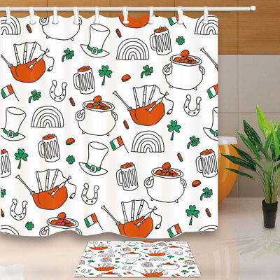 St. Patrick's Day Element Bathroom Shower Curtain Set Fabric & 12 Hooks 71 Inch