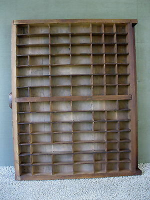 Antique Type Tray Shadow Box Primitive Printers 85 Sections Copper Plated Handle
