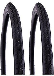 "2x DURO 24"" Wheelchair / bicycle Wheel Chair Pneumatic Tyre 24x1-3/8"" Black"
