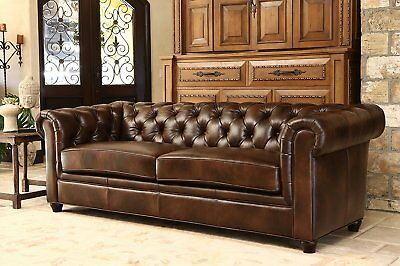 Sofa Chesterfield Tufted Modern Lounge Leather Couch Mid Century Antique Look
