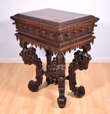 French Antique Renaissance Revival Altar/Table/Pedestal in Oak