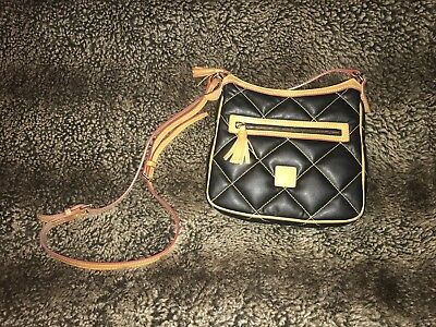 Dooney And Bourke Crossbody Criss Cross Pattern Black and Brown RARE handbag