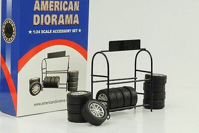 Garage Workshop Tyres Shelf Diorama Equipment Accessorie 1:24 Figurine American