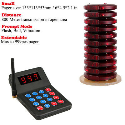 New Restaurant Wireless Paging Queuing System+10Call Coaster Pager for auto shop