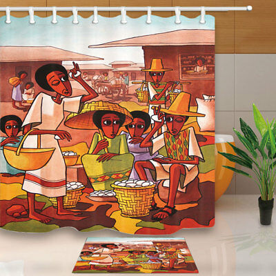 African Commercial Activities Bathroom Shower Curtain Set Fabric &12 Hooks 71""