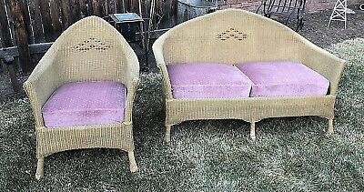 Beautiful Antique 2pc Wicker Sofa & Chair set 1920s Very Good Cond. Denver, CO