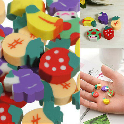 50pcs Students Adorable Cute Mini Cartoon Fruit Pencil Rubber Erasers Stationery
