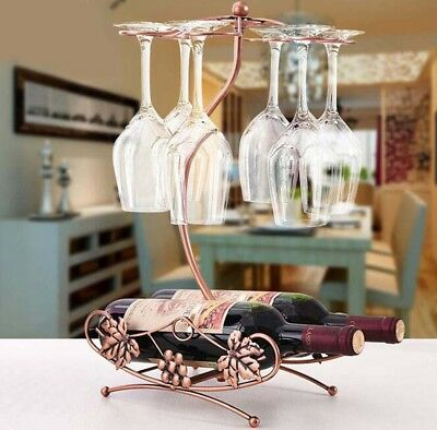Wine Rack Champagne Bottle Glasses Hanging Holder Dining Table Bar Decoration