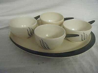 C4 Pottery Cartlonware Windswept Serving Tray & 4 Bowls 32x26cm 4C3B CRAZED