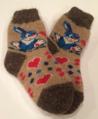 Knitted Sheep wool Kids socks Thick warm winter Bunny Brown Red Blue ( Age 5-7 )