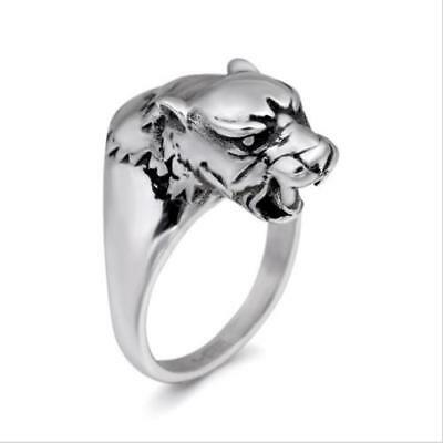 Newest Vintage Jewelry Cool Wolf Head Shaped Ring Stainless Steel Mens Décor