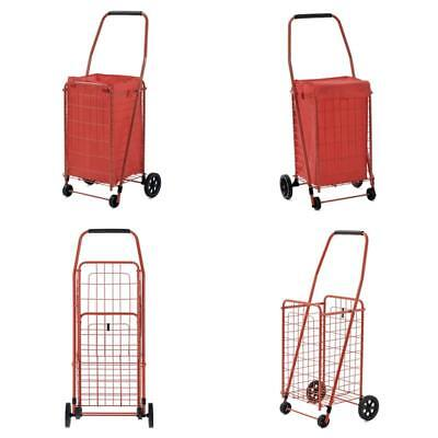 Folding Shopping Cart Grocery Basket Laundry Case Trolley Wheeled Accessories