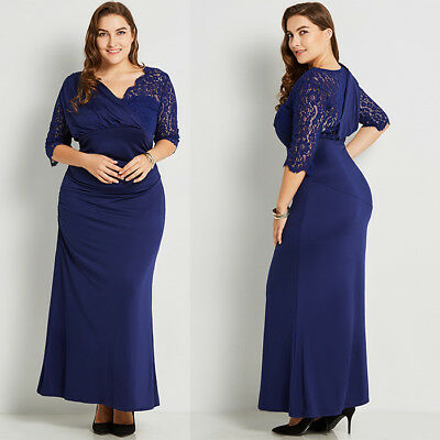 Plus Size Women Formal Long Evening Party Maxi Prom Gown Cocktail Lace Dress UK