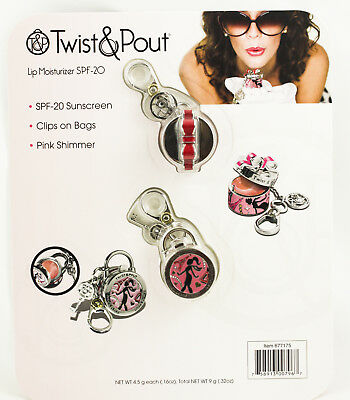 Twist & Pout Lip Moisturizer SPF 20 Key Chain Clip Pink Shimmer 2 Included New