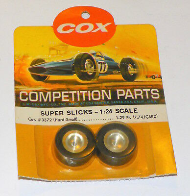 One Pair of 1/24 Cox Slot Car Wheels with Super Slicks #3372 - NOS