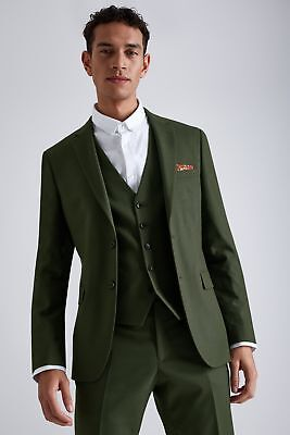 977baf610cc1 Moss London Mens Suit Jacket Skinny Fit Khaki Green Single Breasted 2 Button