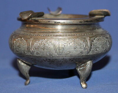 Antique Ornate Silverplated Footed Ashtray
