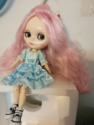 Blythe Nude Doll From Factory Jointed Body Dark Pink Mixed White Long Curly Hair