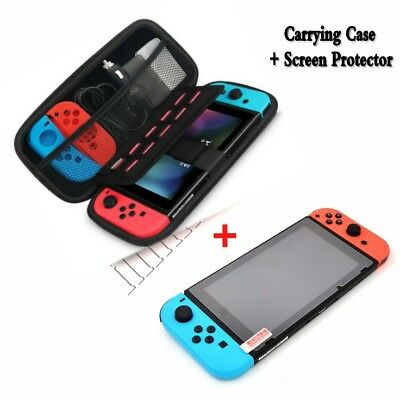 Carrying Case for Nintendo Switch Travel Bag+Tempered Glass Screen Protector New