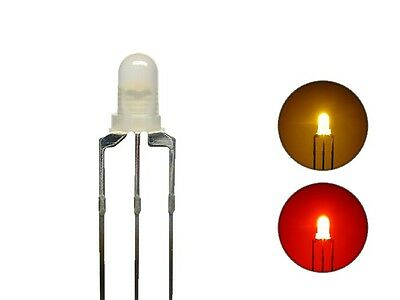 S444 - 20 Piece Duo LEDs 3mm Bi-Color Yellow Red 3-Pin Light Changing