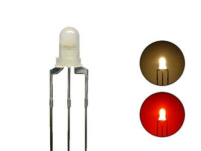 S434 20 Piece Duo LEDs 3mm Bi-Color Warm White Red 3-Pin